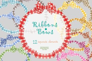 Ribbons & Bows Watercolor clipart