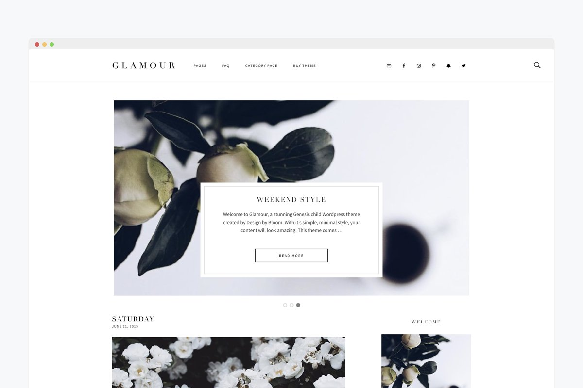 Minimal Wordpress Theme Glamour ~ WordPress Blog Themes