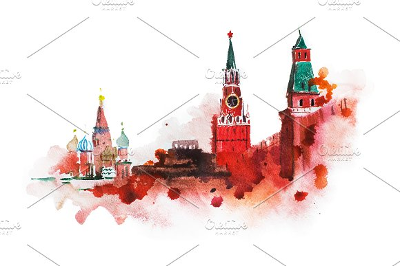 Kremlin Red Square Watercolor Drawing Moscow Russia Landmark Historical Building Illustration