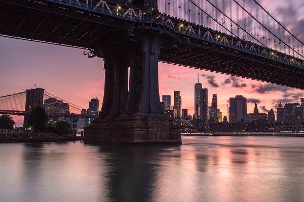 Industrial Stock Photos: MentlaStore - Manhattan bridge during sunset