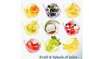 Set of fruit juice splash