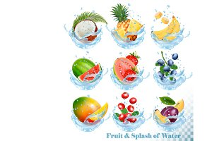 Fruit in a water splash