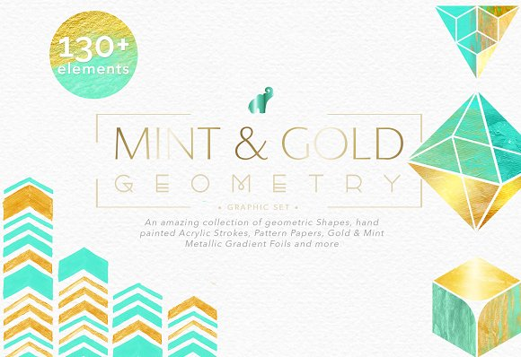 Mint Gold Geometry Collection