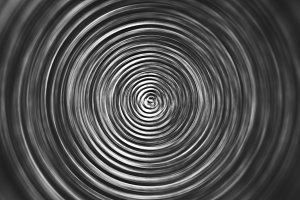 Horizontal black and white swirl teleport illustration backgroun