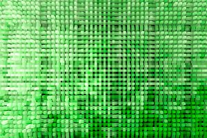 Horizontal green extruded cubes illustration background