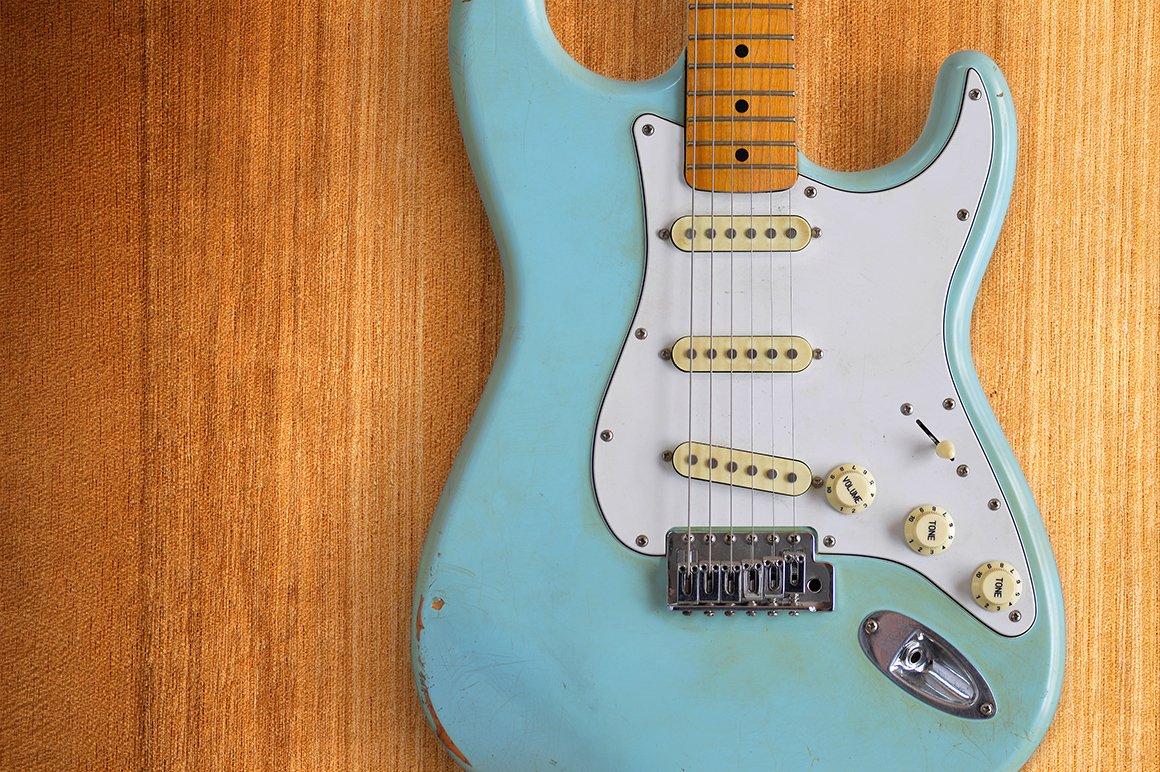 Light Blue Electric Guitar Arts Entertainment Photos Creative Market