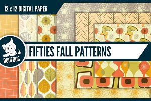 1950s Fall digital paper—mid-century