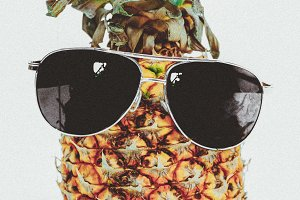 Pineapple with Sunglasses and Golden