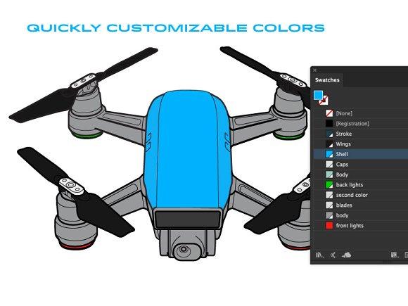 DJI Spark Drone Vector Graphics Creative Market