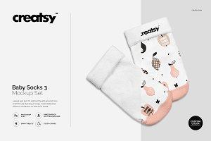 Baby Socks 3 Mockup Set