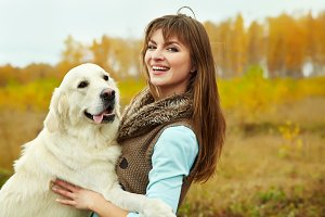 Labrador retriever with owner
