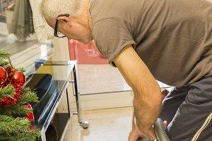 Adult man doing housework