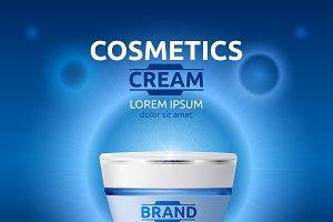 Vector blue moisture cream mockup