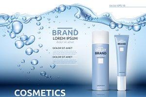 Vector aqua moisture cosmetic mockup