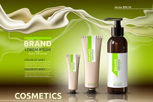 Vector green body cosmetic mockup