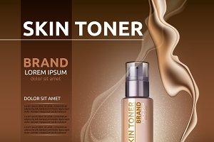 Vector skin toner cosmetics mockup
