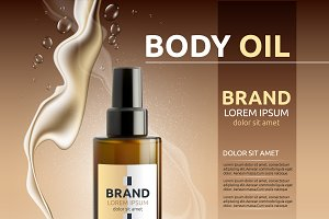 Vector brown body oil cosmetic mocku