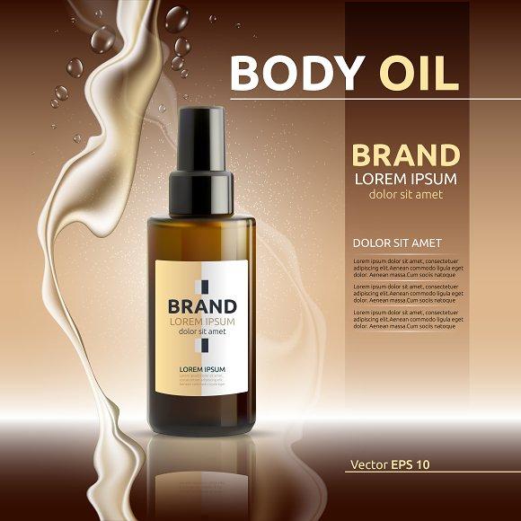 Vector brown body oil cosmetic mocku