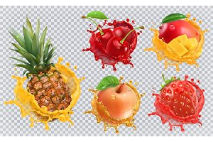 Fruits and splashes, vector icon set