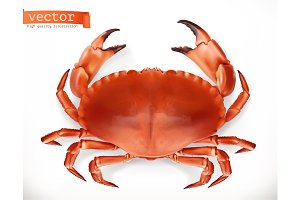 Red crab. 3d vector icon