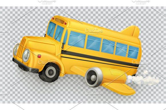 School Bus Airplane Vector Icon