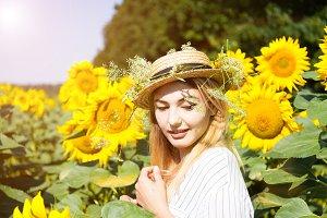 Cute girl in the field