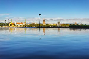 City of Riga with reflection in water
