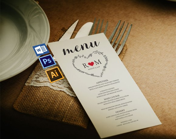 Wedding Menu Template Wpc242