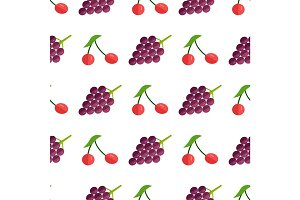 Seamless Pattern with Red Berries and Purple Grape