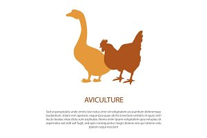 Agriculture Poster with Silhouette of Hen Goose