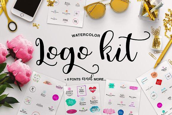 Watercolor Logo Kit 8 Fonts