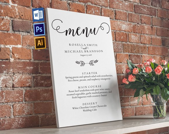 Wedding Menu Board Wpc245