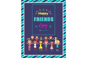Happy Friends Day Greeting Postcard with Children