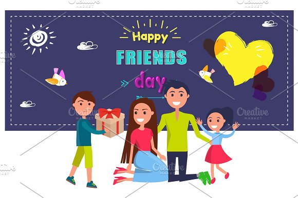 Happy Friends Day Poster With Celebrating Family