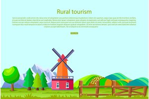 Rural Tourism Poster with Countryside Landscape