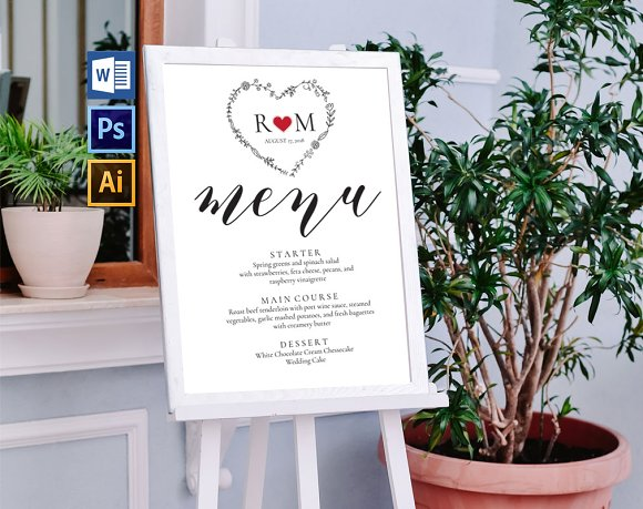 Wedding Menu Board Wpc247