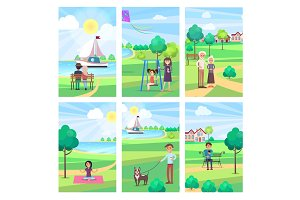 People Spending Free Time in Park Vector Poster