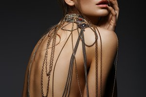 girl with many neck chains