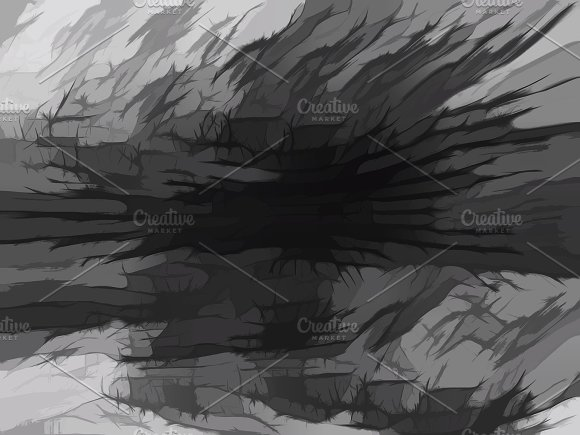 Horizontal black and white cracked artist canvas