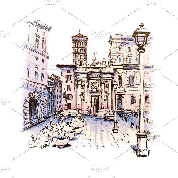 Scenic city view of Rome, Italy