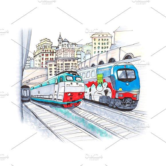 Trains at railway station, Genoa, Liguria, Italy