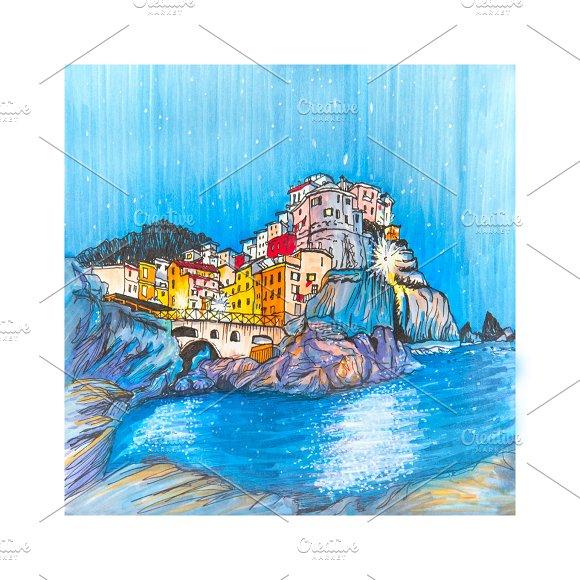 Colorful houses and sea in Manarola, Ligury, Italy