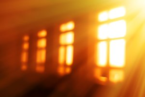 Sunrise windows light leak bokeh background