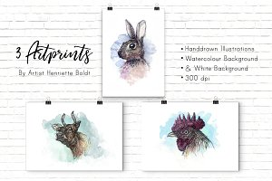 3 Animal Artprints & Illustrations