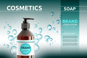 Vector liquid soap cosmetic mockup