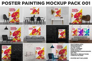 Poster Painting MockUp Pack 001