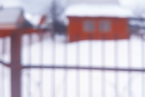 House with fence bokeh background