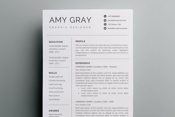 Professional Resume Template Cv Creative Resume Templates Creative Market