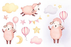 Illustrations of cute sheep