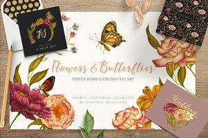 Flowers & Butterflies - Clipart